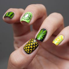 Nail art pineapple & other fruits
