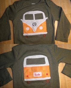 Volkswagen Bus Applique Onesie. $30.00, via Etsy.