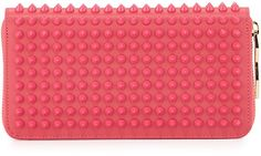 Christian Louboutin Panettone Spike Stud Continental Wallet, Pink. Can Also Use As A Clutch.