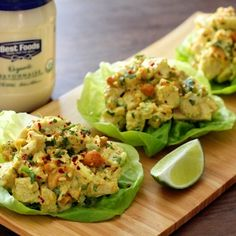 Curry Chicken Salad Lettuce Wraps by kevmasse, New York City Salad Wraps, Lettuce Wraps, Quesadillas, Burritos, Clean Eating Salads, Chicken Curry Salad, Tacos, Healthy Chicken Recipes, Salad Recipes