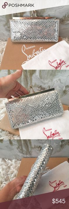 """Christian Louboutin Silver Poseidon Sequin Clutch Authentic Christian Louboutin Posedion Clutch. Silver Louboutin satin clutch with silver-tone fish scale sequin embellishments at exterior, signature red grosgrain lining, gold-tone frame top and signature pigalle stiletto clasp closure at top. This is a nice light weight clutch. Satin at sides shoes very minor wear as photoed, minor glue spot at bottom not noticeable, minor wear interior. Measures approx 9"""" x 5"""" x 1"""". Comes with duster only…"""