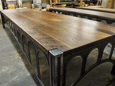 Closeup of a 42 desk with a 14' x 4' walnut top! Designed and built by Vintage Industrial in Phoenix...