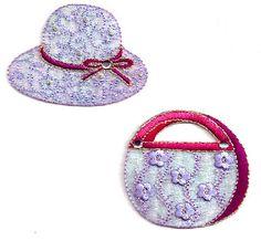 Hat Purse Set - Vintage Design - Light Purple-Wine Details - Iron On Appliques