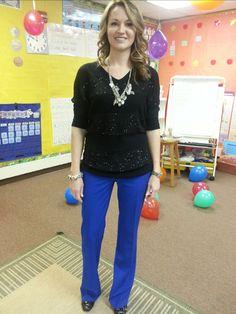 Teacher clothing blog-blue pants - Really cute blog with great ideas