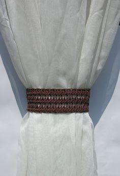 Curtain tie backs Crochet curtain tiebacks Brown curtain tie backs Window décor Drapes Curtain Holdbacks Drapery Tieback  Curtain Holders