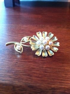 Classic Style Costume Gold and Pearl Flower Pin by SantaCruzSeraph