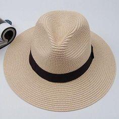 1948d0a3fe8 Stylish Black Strap Embellished Solid Color Straw Hat For Men Hats For  Sale