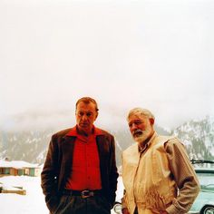 Ernest Hemingway and Gary Cooper in Idaho, the pair were best buds from 1939 until their deaths a year apart from each other.