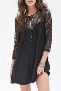 Stylish Round Collar 3/4 Sleeve Lace Spliced See-Through Women's Dress Lace Dresses | RoseGal.com Mobile