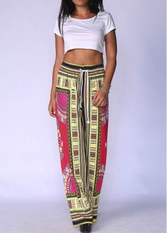 Tribal Print High Waisted Wide Leg Palazzo Pants has a boho preppy style look.