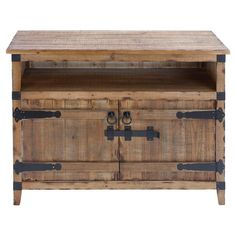 Rustic-style media console with an open shelf, lower cabinet, and black metal reinforcing.     Product: Media console...