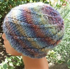 Knit beanie hat - multi coloured beanie - Hippy hat - Ladies hand knitted beanie hat in multi coloured yarn with spiral pattern by WoolieBits on Etsy