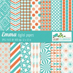 Emma digital papers - beautiful papers for web design, invitations, card making, scrapbooking and more.
