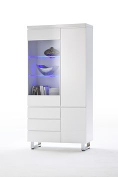 Elegance, Display Unit In White Or Black High Gloss With Opt. Led ... Wohnzimmer Vitrine Modern