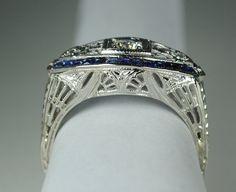 Art Deco Diamond & French Cut Sapphire Ring by greenhilljewelers