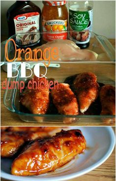 Orange BBQ Dump Chicken is one of our most popular recipes. With only 3 ingredients in the marinade, and flavor that can't be beat! Crock Pot and Oven directions included!This Orange BBQ Dump Chicken is one of our most popular recipes. With only 3 ingred Slow Cooker Recipes, Crockpot Recipes, Chicken Recipes, Cooking Recipes, Dump Recipes, Meal Recipes, Dinner Recipes, Radish Recipes, Chicken Dips