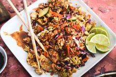 Crunchy Ramen Noodle Salad with Thai Red Curry Sauce   Sesame Caramelized Cashews