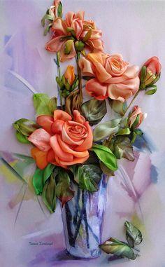 Ricamo con nastro quadro ricamato rose in vaso ribbon