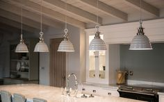 Kitchen Lighting Remodel Neptune Kitchens with statement pendant lights over the central island unit. Modern Kitchen Lighting, Kitchen Island Lighting, Kitchen Lighting Fixtures, Kitchen Pendant Lighting, Kitchen Pendants, Home Lighting, Pendant Lights, Lighting Ideas, Barn Kitchen