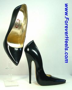 ForeverHeels Style V16SA, Special Arch, V-shaped Toes, 16cm Heels, Black Patent Leather