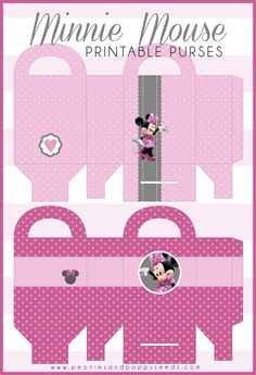 Printable Minnie Mouse Purses | Peonies and Poppyseeds....find a way to make suitcases for boys