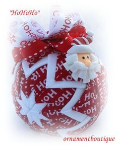 Quilted Christmas Ornament Santa