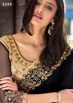 7649ff1e40 New Fashion Black & Cream Jacquard Design Saree With Embroidery Work -  Designer Saris