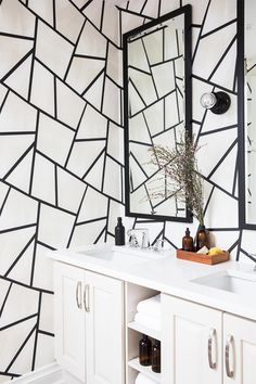 Tiny bathrooms are the perfect excuse to go big on style. Here, we've rounded up our best decor tips for a little inspiration. Bathroom Renos, White Bathroom, Bathroom Renovations, Bathroom Faucets, Funky Wallpaper, Graphic Wallpaper, Powder Room Decor, Walk In Shower Designs, Tiny Bathrooms