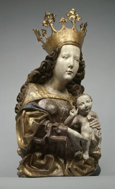 Follower of the Master of the Dangolsheimer Madonna, South German,  Virgin and Child, late 15th–early 16th century,  Wood with polychromy and gilding.
