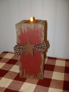 primitive wood block | ... Blocks | Primitive Red Burgundy Battery Candle Light Wood Block | eBay