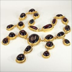Antique Austro-Hungarian Carbuncle Garnet Necklace in Silver Gilt, Gorgeous!!