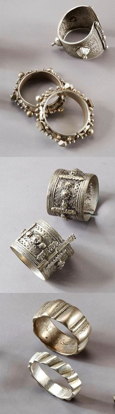 Collection of seven silver bracelets from North Africa