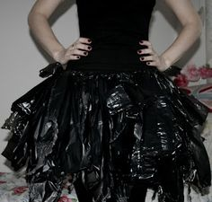 Easy DIY  Witch No Sew Halloween Costume Using Household Items 1 pair of black tights/leggings + 1 black top + 3 black bin bags A pair of scissors
