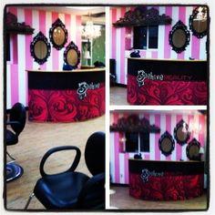 beehive beauty shop, rustic glamor, alaskan beauty, salon, pink and white walls, ornate frames, wood floors, logo, pink and black love!