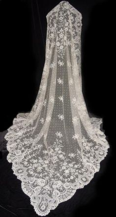 Antique IRISH CARRICKMACROSS Lace Wedding Veil Shawl                                                                                                                                                                                 More