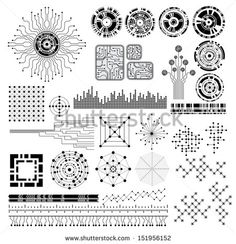 collection of modern technology theme vector design elements - stock vector