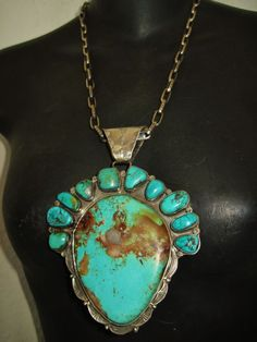 NAVAJO LYDIA BEGAY MAGNIFICENT TURQUOISE PENDANT, 180 grams Sterling Silver