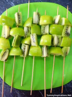 Kiwi and Apple Kebabs - Healthy Kids Snack Idea