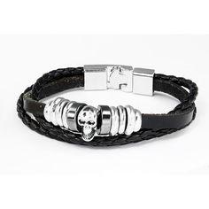 Braided Genuine Leather Skull Bracelet For Men