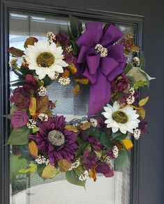 Purple and Cream Sunflower Wreath, Autumn Rustic Wreath, Best Fall Wreath, Farmhouse Wreath, Poppy Wreath, Twig Wreath, Sunflower Wreaths, Elegant Fall Wreaths, Autumn Wreaths, Wreath Fall, Rustic Wreaths, Purple Wreath, Christmas Mesh Wreaths