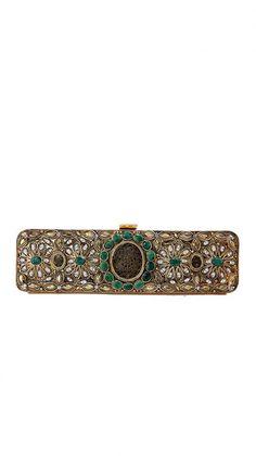 Thewa Worked Metal Clutch | Strandofsilk.com - Indian Designers
