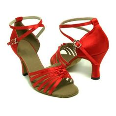 AwesomeNice Colorfulworldstore Red Chinese knot stain of Ladies Latin dance shoes-Red(EU36~EU41)