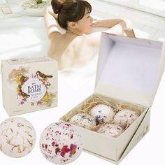 4pcs/Set Natural Sea Bath Spa Ball Flower Bubble Bath Bombs Gift