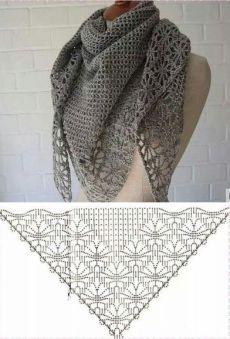 Ажурный платок с узором паучки. Схемы вязания крючком шалей |