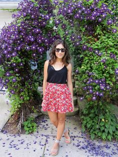 {Floral Burst} H skirt + top, UO bralette, Converse espadrille sandals, Karen Walker sunglasses // Midwest Fashion Blog | Talita Taiti | Fashion & Lifestyle Blogger