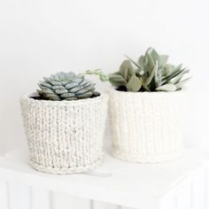 Cover up those planters with these sweet, cozy knit planter covers!
