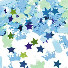 Decorate your tables with coordinating Little Prince blue and green confetti in baby bottle, buggy, and crown shapes, with shimmering stars and polka dots - perfect table sprinkles.  Jumbo 2.5 oz package.