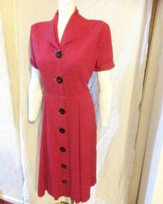 Sale tunning sassy bright red classic stylish dress with amazing big black centre button faste 1940s Dresses, Button Dress, Big Black, Sassy, Fashion Dresses, Short Sleeve Dresses, Buttons, Bright, Stylish