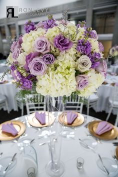 Tall centerpiece - Gold Charger - Glass vase - Stunning - Elegant - Purple - Lavender - Gold - White - Wedding - Bat Mitzvah - Sweet 16 - Skirball Cultural Center - Ahmanson Ballroom - PC: Ron Levy Photography - Design and Planning from www.DBCreativity.com