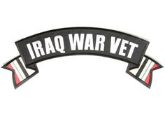 Iraq War Vet rocker patch with flags